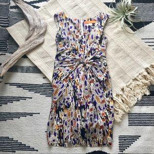 Colorful, patterned shift dress silk